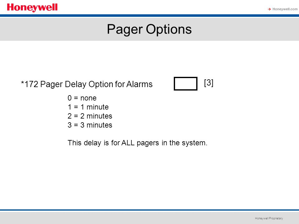 Pager Options *172 Pager Delay Option for Alarms [3] 0 = none